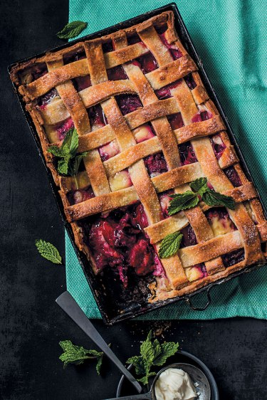 Sour-cream-plum-lattice-pie